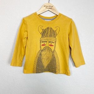 Hanna Andersson Yellow Viking Graphic Tee Size 90